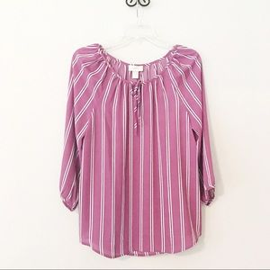 Ann Taylor LOFT Top Mauve Stripes 3/4 Sleeve M